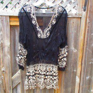Vintage Nygard Sheer Black Tunic w/ Lace Sz 20